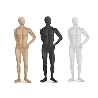 Zestaw trzech męskich manekinów