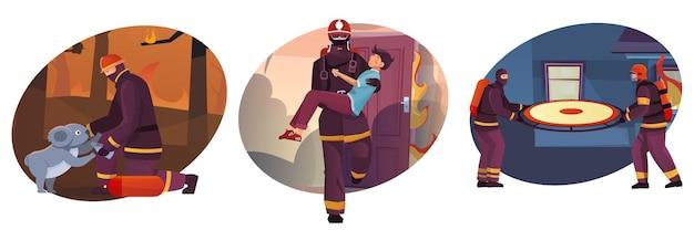 Zestaw trzech okrągłych ilustracji z różnymi lokalizacjami i strażakami ratującymi ludzi i zwierzęta
