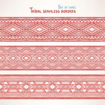 Zestaw trzech pięknych plemiennych bez szwu granic z trójkątami i rombami