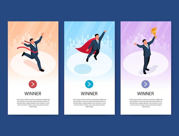Zestaw trzech pionowych banerów biznesmen zwycięzca izometryczny