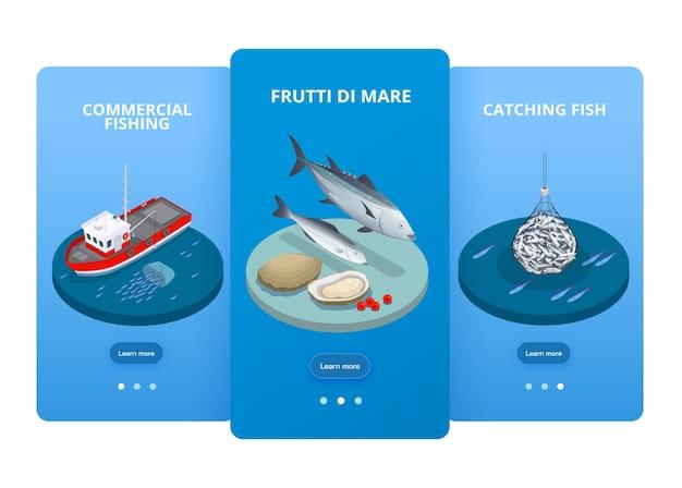 Zestaw trzech pionowych banerów izometrycznych produkcji owoców morza przemysłu rybnego