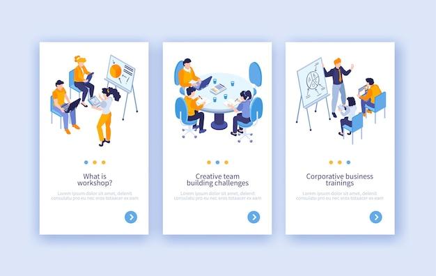 Zestaw trzech pionowych banerów izometrycznych szkoleń biznesowych z tekstem przycisków przełączania strony i ludźmi