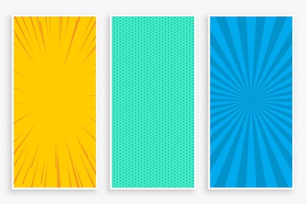 Zestaw trzech pionowych banerów w trzykolorowym stylu komiksowym