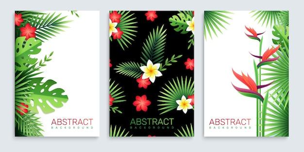 Zestaw trzech pionowych plakatów z papierowymi tropikalnymi liśćmi i kwiatami