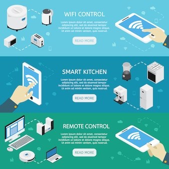 Zestaw trzech poziomych banerów izometrycznych urządzeń gospodarstwa domowego z opisami pilota zdalnego sterowania do sterowania wi-fi