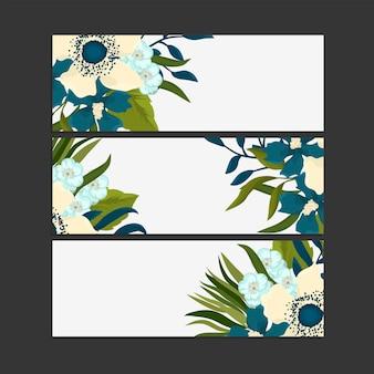 Zestaw trzech poziomych banerów z delikatnymi kwiatami.