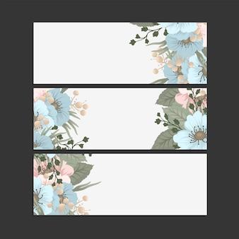 Zestaw trzech poziomych banerów z delikatnymi wzorami kwiatów.