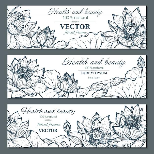 Zestaw trzech poziomych banerów z pięknymi kwiatami lotosu i