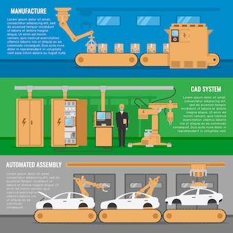 Zestaw trzech poziomych banerów zautomatyzowanego montażu z opisami systemu cad produkcji i ilustracją wektorową automatycznego montażu