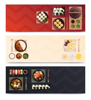 Zestaw trzech poziomych tradycyjnych japońskich banerów żywnościowych