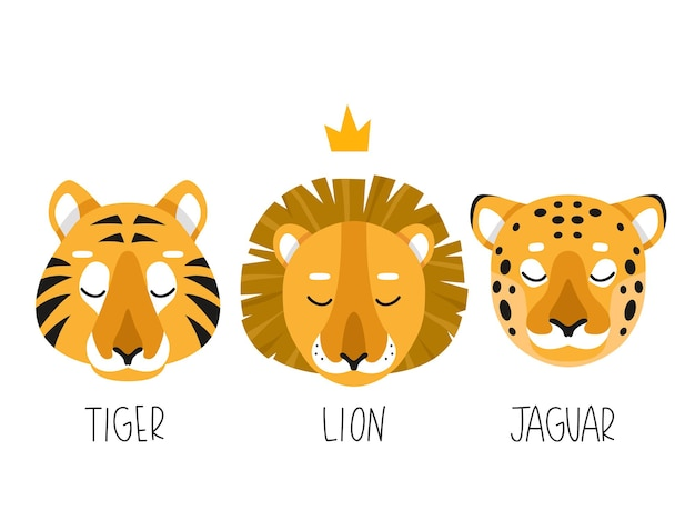 Zestaw trzech prostych ilustracji lwa tygrysa i jaguara