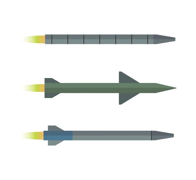 Zestaw trzech rakiet kolekcja clipartów broni wojskowej pociski jądrowe