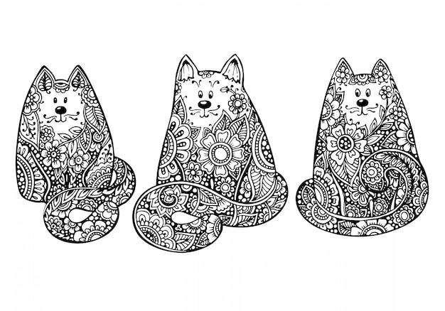 Zestaw trzech ręcznie rysowane doodle graficzne koty czarno-białe