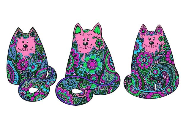 Zestaw trzech ręcznie rysowane doodle kolorowe koty
