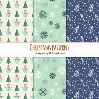 Zestaw trzech ręcznie rysowane wzory świąteczne