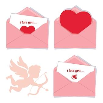 Zestaw trzech różowych kopert romantycznych valentine wektor, na białym tle z sylwetką kupidyna