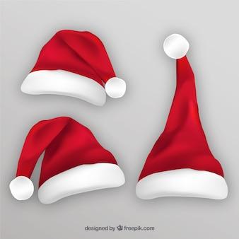 Zestaw trzech santa claus czapki