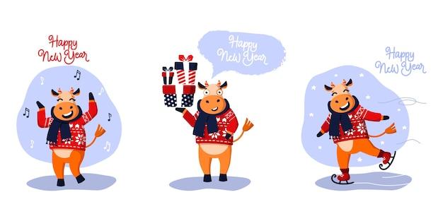 Zestaw Trzech świątecznych Byków. Symbol Nowego Roku Premium Wektorów
