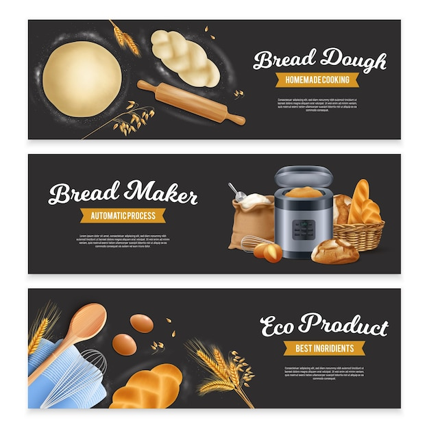 Zestaw trzech szerokich poziomych realistycznych banerów chlebowych z tekstem odznaki wstążki i obrazami ciasta