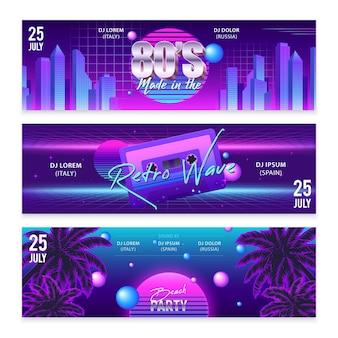 Zestaw trzech szerokich poziomych realistycznych banerów w stylu retro party z neonową grafiką i edytowalnym tekstem