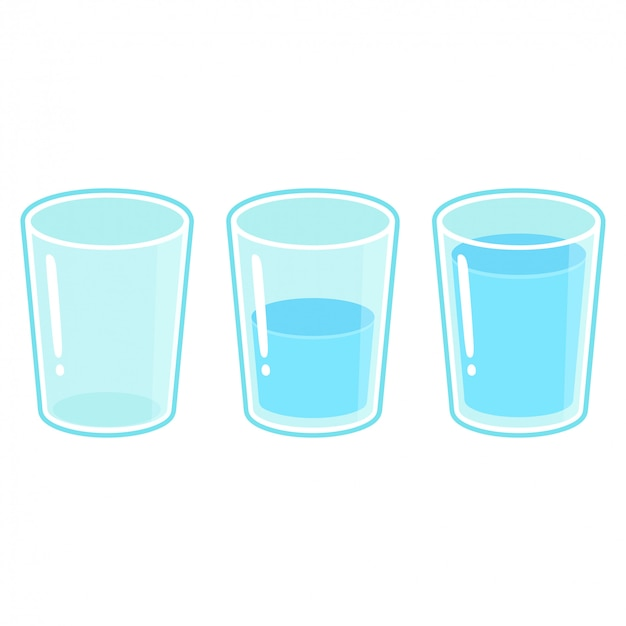 Zestaw trzech szklanek wody