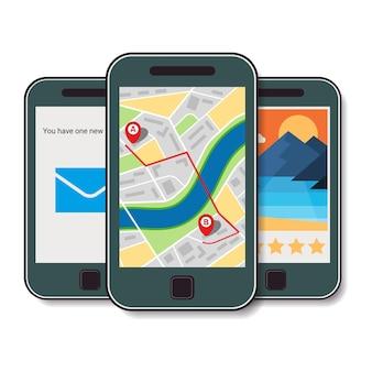 Zestaw trzech telefonów komórkowych. telefon komórkowy z mapą miasta, wiadomością przychodzącą i zdjęciem ocenionym na pięć gwiazdek. ilustracja wektorowa