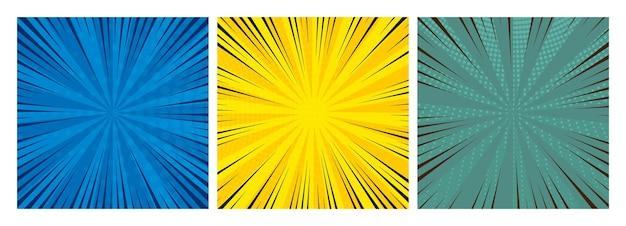 Zestaw trzech tła stron komiksu w stylu pop-art z pustą przestrzenią. szablon z promieniami, kropkami i teksturą efekt półtonów. ilustracja wektorowa