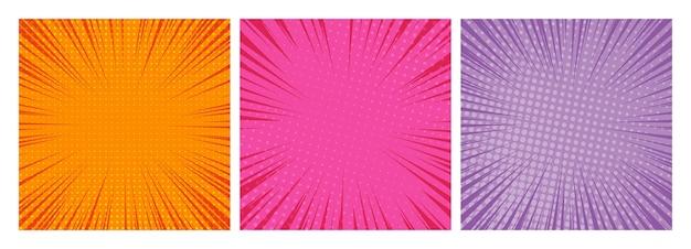 Zestaw trzech tła stron komiksu w stylu pop-art z pustą przestrzenią. szablon z promieniami, kropkami i teksturą efektu półtonów. ilustracja wektorowa
