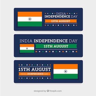 Zestaw trzech transparenty flaga indii na dzień niepodległości