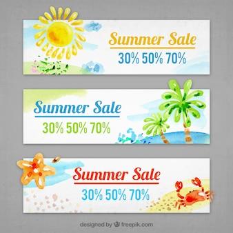 Zestaw trzech transparenty letnie oferty