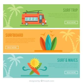 Zestaw trzech transparenty surfowania