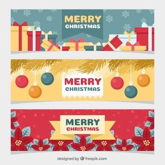 Zestaw trzech transparenty z christmas obiektów w płaskiej konstrukcji
