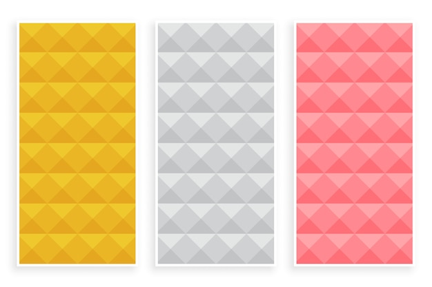 Zestaw trzech trójwymiarowych wzorów w stylu diamentowym