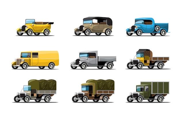 Zestaw trzech typów samochodów roboczych w stylu vintage lub antycznym na białym tle