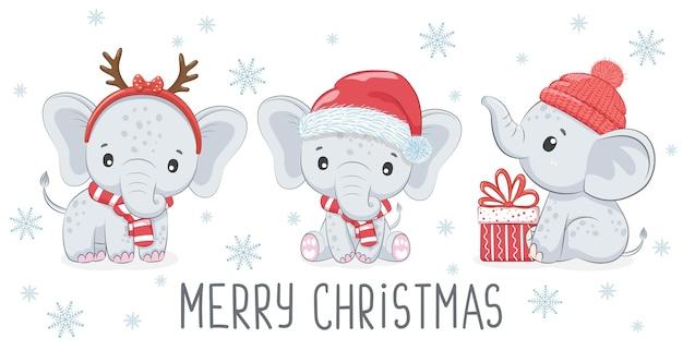 Zestaw trzech uroczych i słodkich słoniątek na nowy rok i boże narodzenie. chłopiec słonia. ilustracja wektorowa kreskówki.