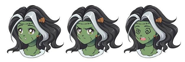 Zestaw trzech uroczych portretów dziewczyny zombie anime. dwa różne wyrażenia. ręcznie rysowane ilustracja w stylu retro anime z lat 90.