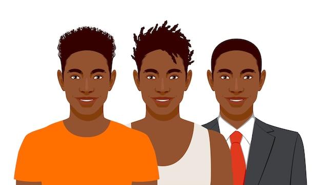 Zestaw trzech uśmiechniętych afrykańskiego mężczyzny inną fryzurę i ubrania na białym tle na białym tle.