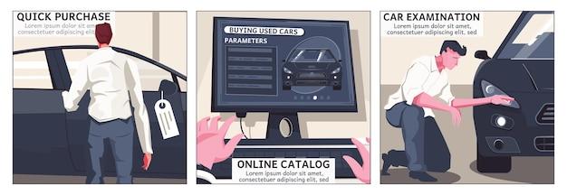 Zestaw trzech używanych ilustracji zakupu