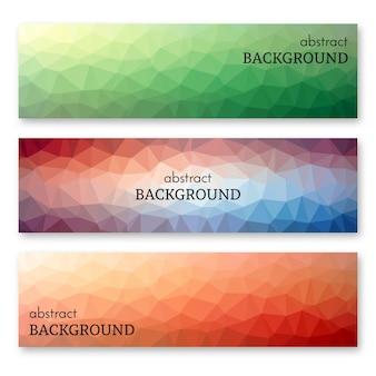Zestaw trzech wielobarwnych banerów w stylu sztuki low poly. tło z miejscem na twój tekst. ilustracja wektorowa