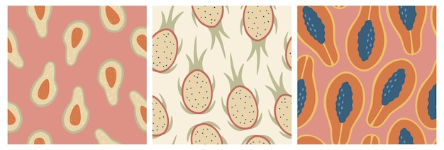 Zestaw trzech wzorów bez szwu świeżych owoców