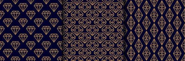 Zestaw trzech wzorów bezszwowych kamieni szlachetnych w minimalistycznym modnym stylu. złote diamenty liniowe na ciemnoniebieskim tle. wektor streszczenie tekstura geometryczna papieru, kart, zaproszeń, tkanin.