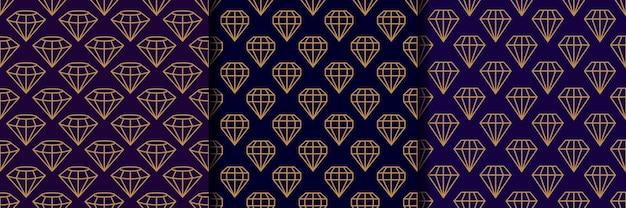 Zestaw trzech wzorów bezszwowych kamieni szlachetnych w minimalistycznym modnym stylu. złote diamenty liniowe na ciemnym fioletowym tle. wektor streszczenie tekstura geometryczna papieru, kart, zaproszeń, tkanin.