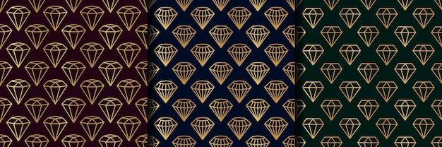 Zestaw trzech wzorów bezszwowych kamieni szlachetnych w minimalistycznym modnym stylu. złote diamenty liniowe na ciemnym tle. wektor streszczenie tekstura geometryczna papieru, kart, zaproszeń, tkanin.