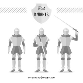 Zestaw trzech zbrojnych rycerzy w płaskim stylu
