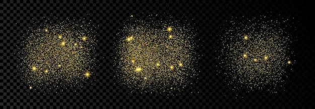 Zestaw trzech złotych błyszczących teł na ciemnym przezroczystym tle. tło z efektem złotego brokatu i puste miejsce na tekst. ilustracja wektorowa