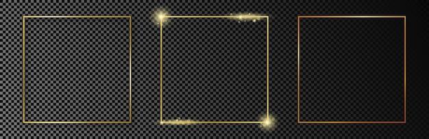 Zestaw trzech złotych świecących ramek kwadratowych na białym tle na ciemnym przezroczystym tle. błyszcząca ramka ze świecącymi efektami. ilustracja wektorowa.