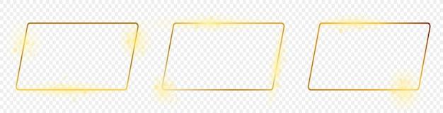 Zestaw trzech złotych świecących ramek zaokrąglony kształt prostokątny na przezroczystym tle. błyszcząca ramka ze świecącymi efektami. ilustracja wektorowa.