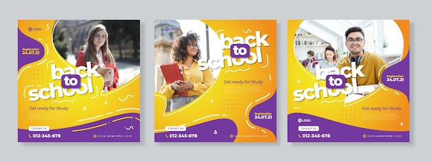 Zestaw trzech żółto-fioletowych płynów organicznych z szablonem pakietu mediów społecznościowych z powrotem do szkoły