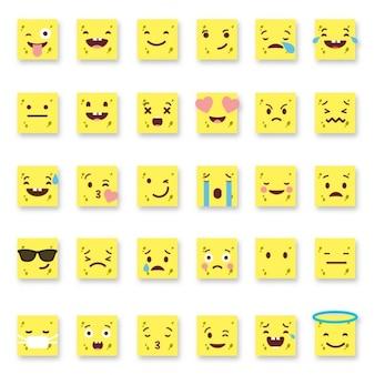 Zestaw trzydziestu sześciu żółtych prostych emotikonów