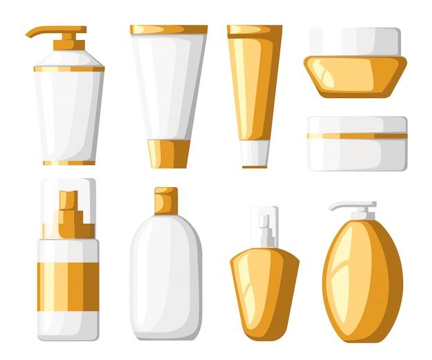 Zestaw tub i butelek z kosmetykami, białe i złote plastikowe pojemniki, z ilustracją sprayu na białym tle strony internetowej i aplikacji mobilnej